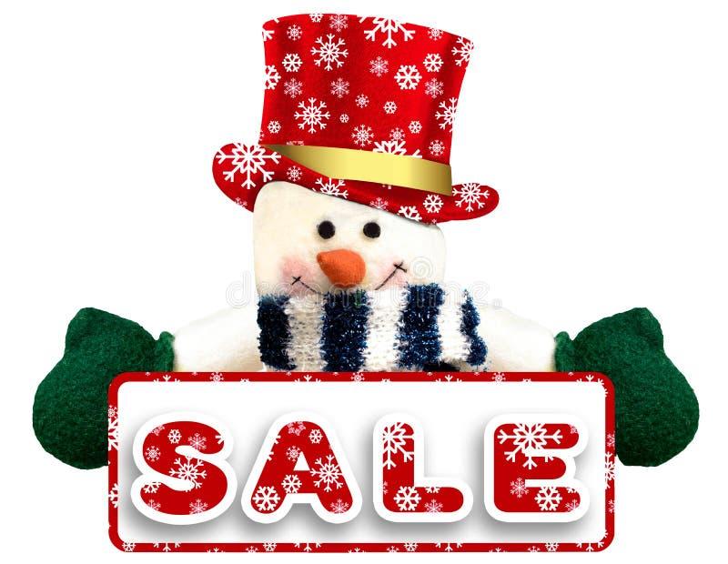 Weihnachtsverkaufshintergrund mit Schneemann auf Weiß stockbilder