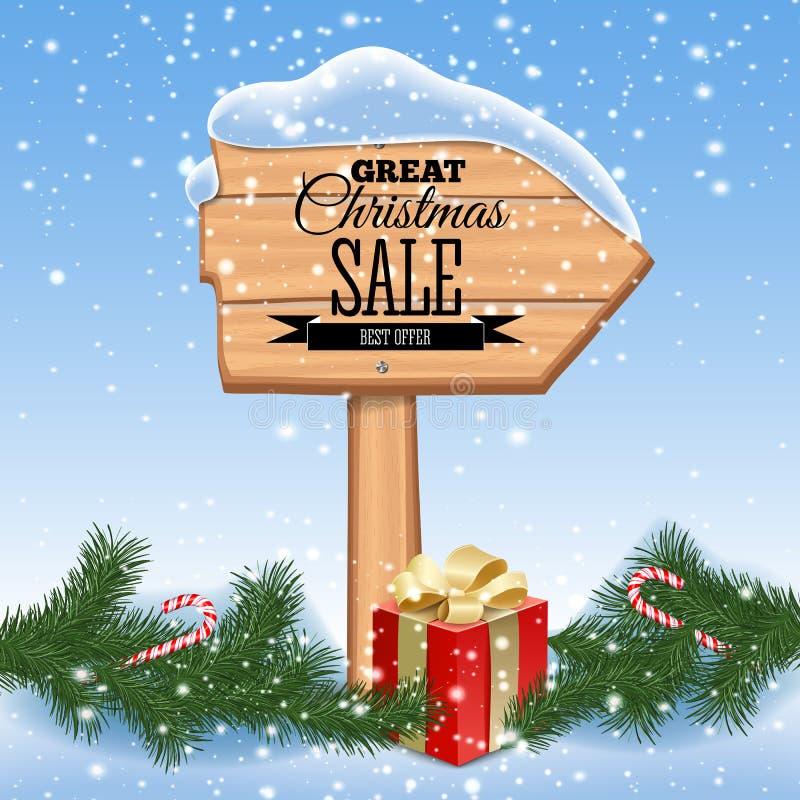 Weihnachtsverkaufsplakat Hölzerner Hintergrund mit Feiertags-Rahmen Retro- Auslegung Auch im corel abgehobenen Betrag vektor abbildung