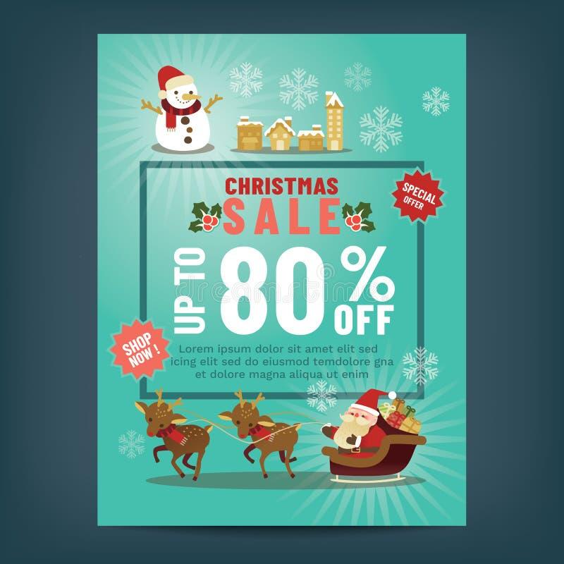 Weihnachtsverkaufsplakat mit netter Weihnachtsmann-Karikatur lizenzfreie abbildung
