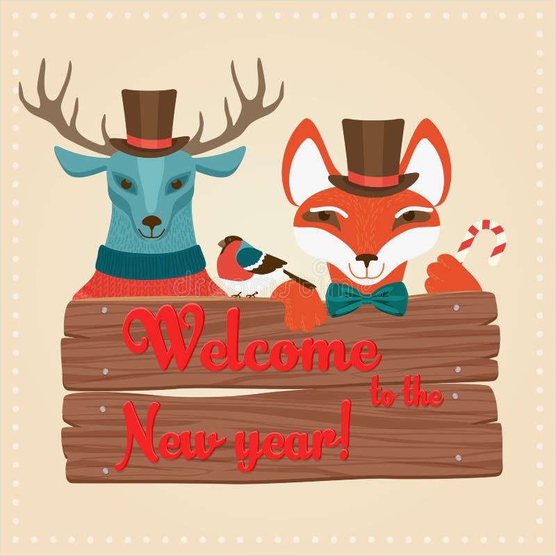 Weihnachtsverschalen nette Waldtiere die Rotwild und Fuchs, die Zeichen halten, mit Willkommen zu den Wörtern des neuen Jahres Ve stock abbildung