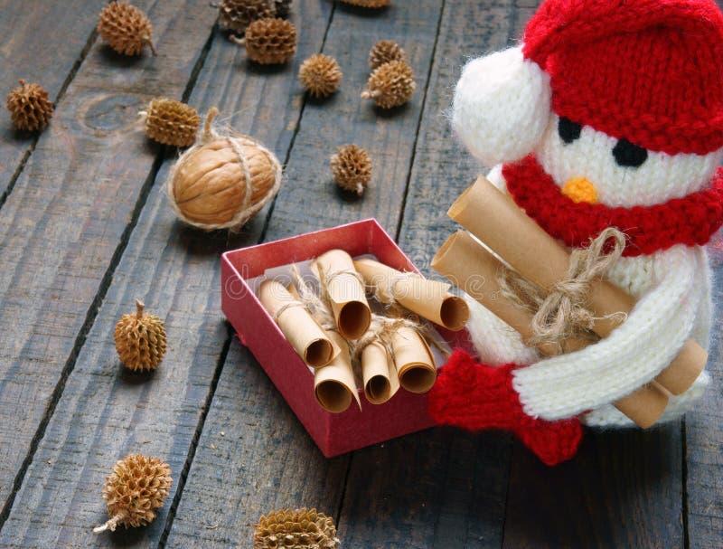 Weihnachtsverzierung, handgemacht, Weihnachten, Schneemann stockfotografie