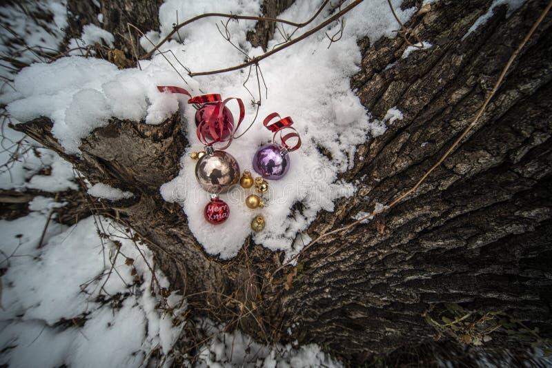 Weihnachtsverzierungen im Schnee stockfotos