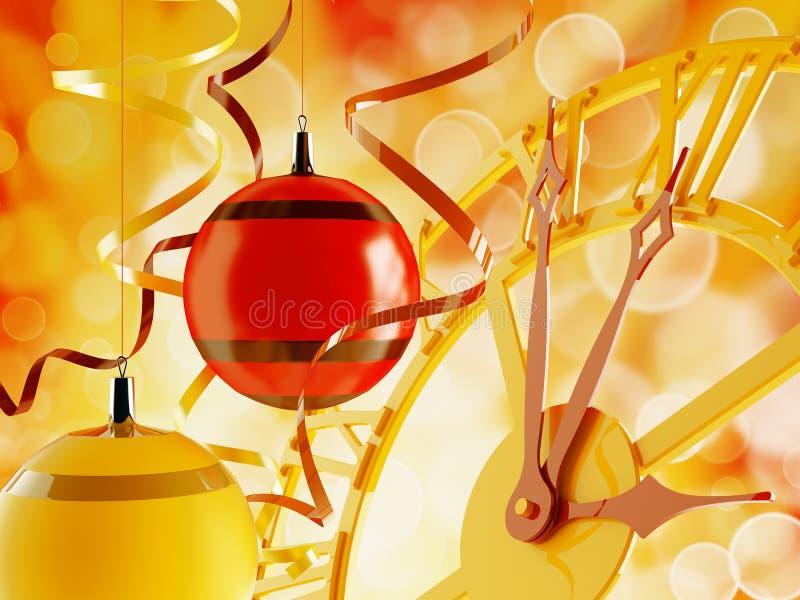 Weihnachtsverzierungen und -borduhr lizenzfreie abbildung