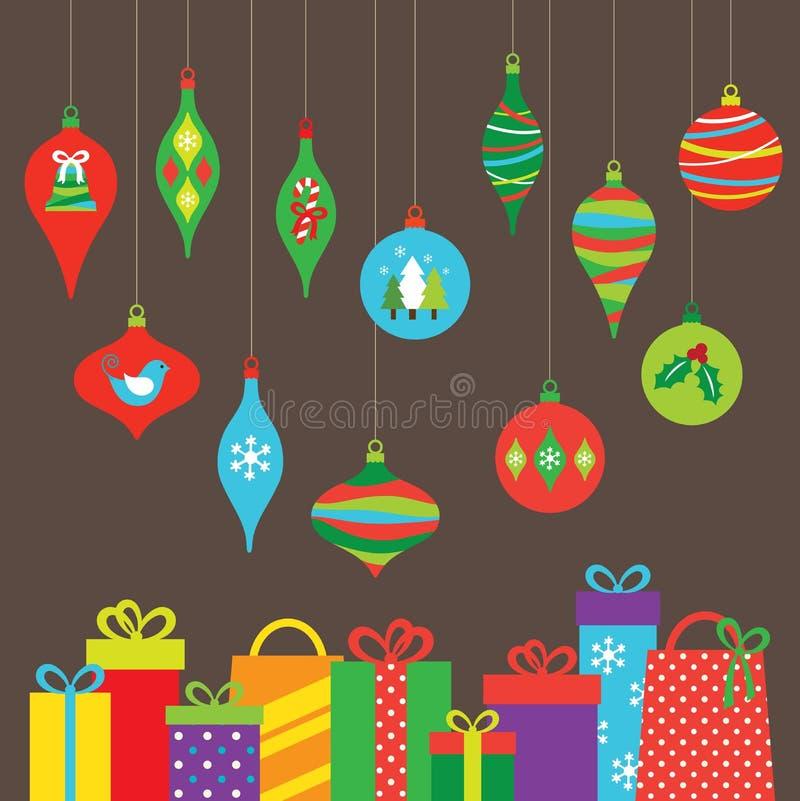 Weihnachtsverzierungen und -geschenke stock abbildung