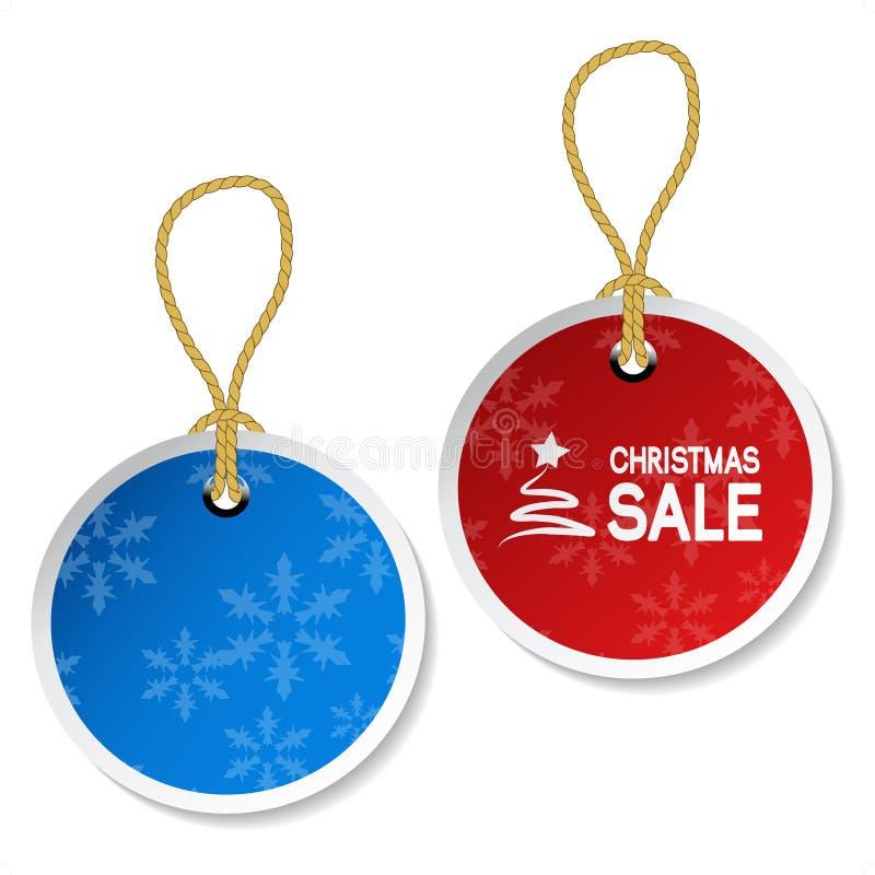 Weihnachtsverzierungmarken mit Schneeflocken lizenzfreie abbildung