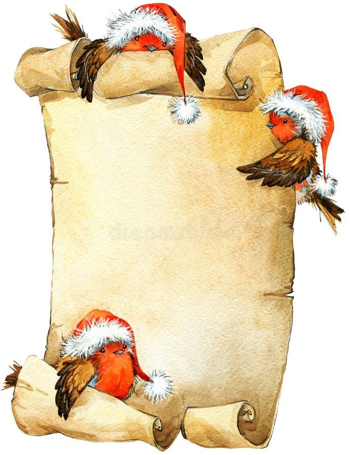 Weihnachtsvogel und Weihnachtshintergrund Dekoratives Bild einer Flugwesenschwalbe ein Blatt Papier in seinem Schnabel stock abbildung