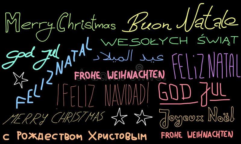 mehrsprachiger text in der weihnachtsbaumform stock abbildung illustration von italienisch