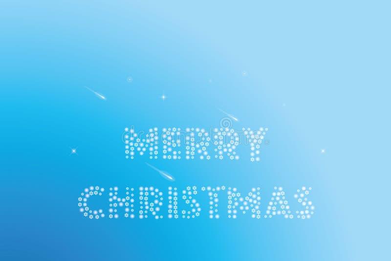 Weihnachtswünsche machten durch Schneeflocken auf blauem Hintergrund mit Sternschnuppen lizenzfreie abbildung