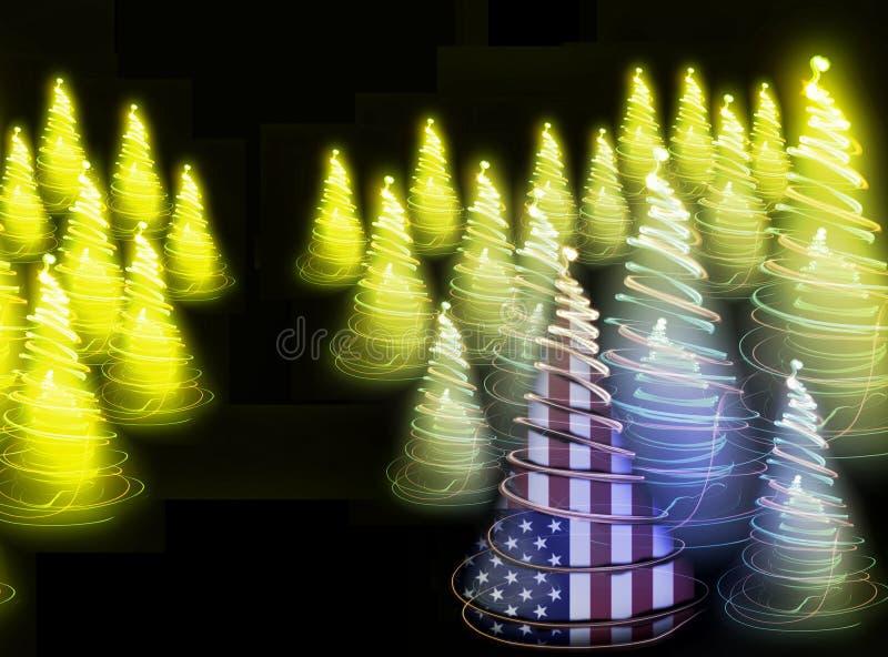 Weihnachtswald von den Lichtern stock abbildung