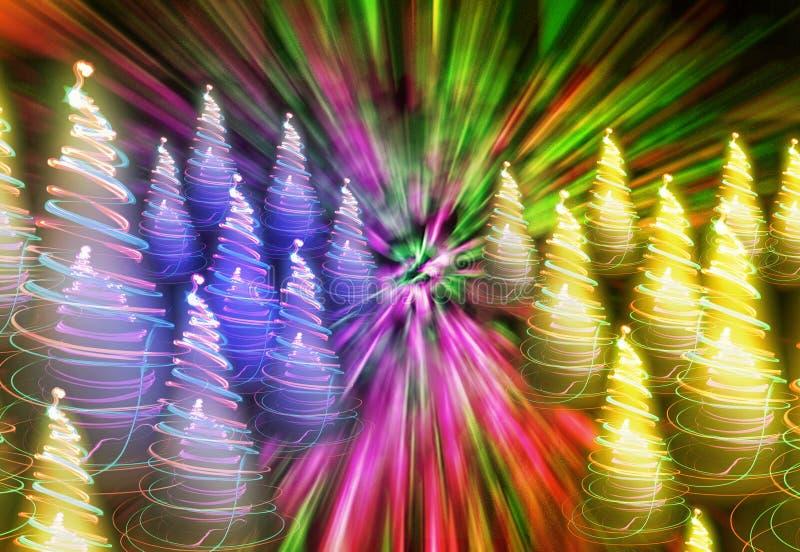 Weihnachtswald von den Lichtern lizenzfreie abbildung