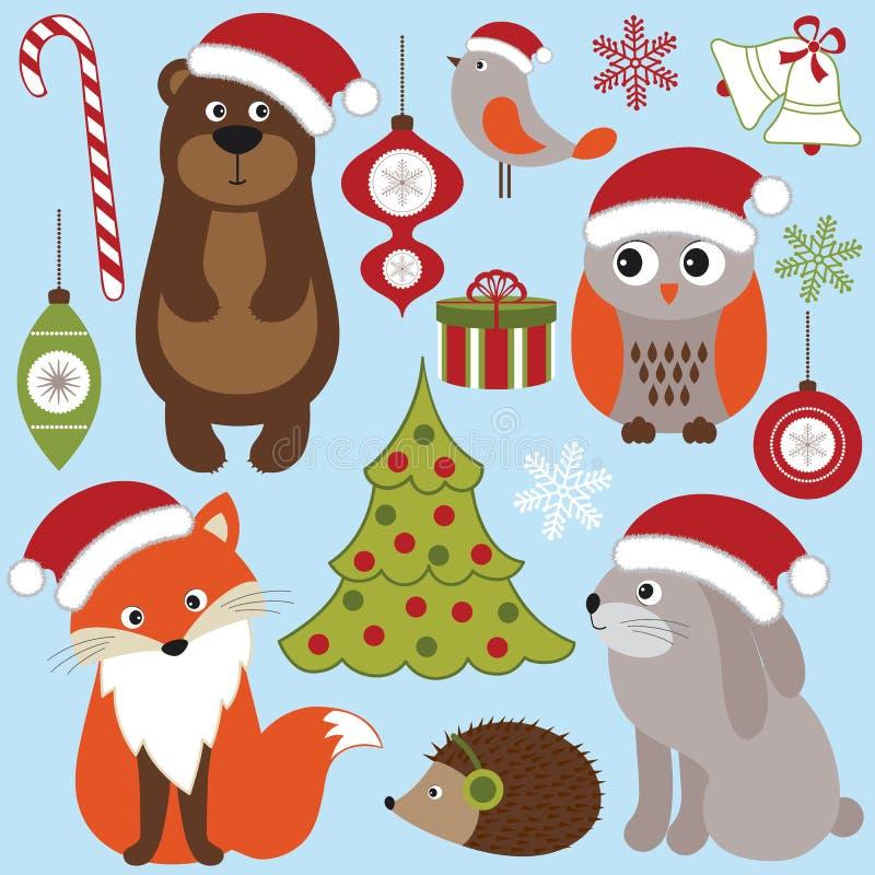 Weihnachtswaldtiere vektor abbildung