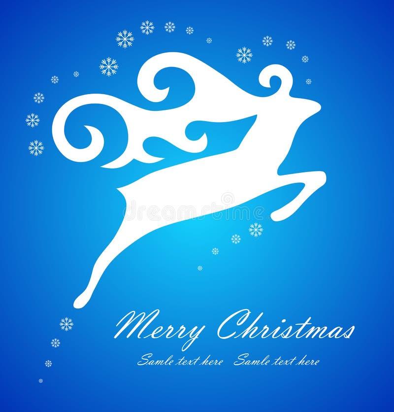 Weihnachtsweiße Rotwild auf blauem Hintergrund vektor abbildung