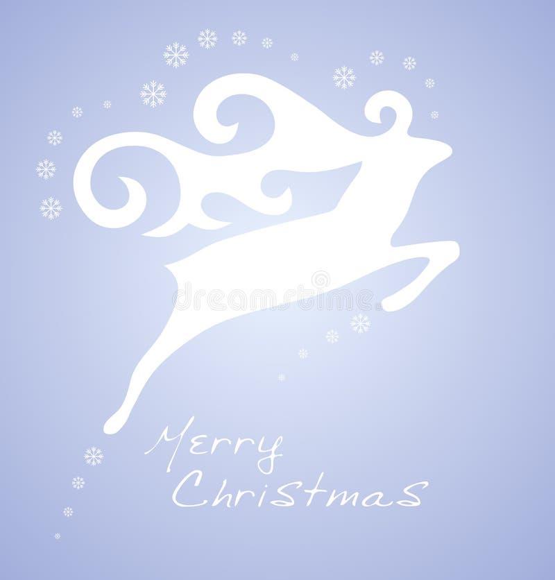 Weihnachtsweiße Rotwild auf grauem Hintergrund vektor abbildung