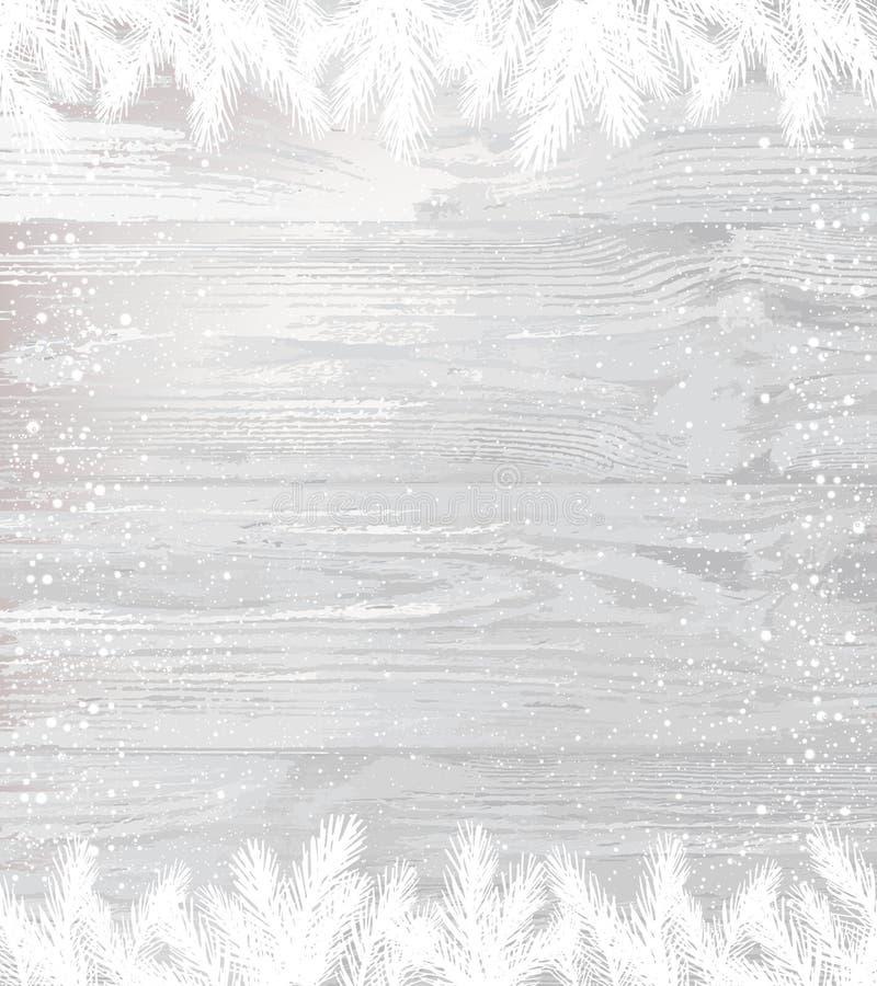 Weihnachtsweißer hölzerner Hintergrund mit Wintertannenzweigen mit Schneeflocken, Licht vektor abbildung