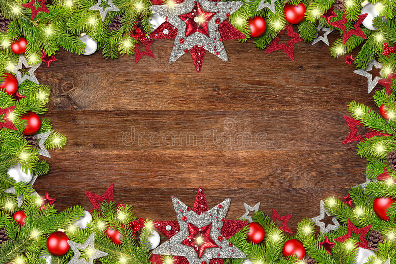Weihnachtsweihnachtsalter rustikaler Eichenholzhintergrund lizenzfreies stockbild