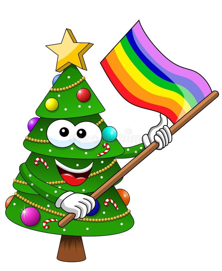Weihnachtsweihnachtsbaumcharaktermaskottchenkarikaturregenbogen-Friedensflagge lokalisierte lizenzfreie abbildung