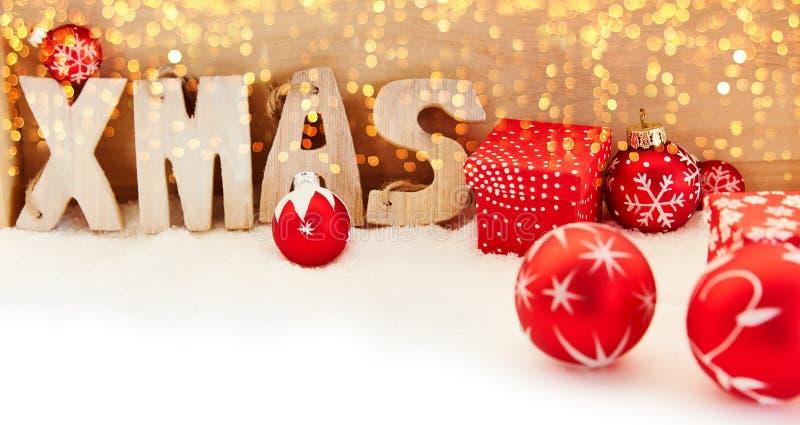 Weihnachtsweihnachtshintergrundfahne mit bokeh stockbild