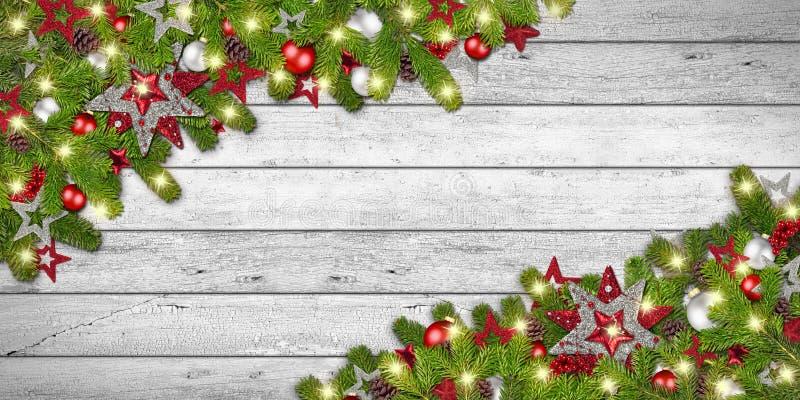 Weihnachtsweihnachtsweißer rustikaler hölzerner Hintergrund lizenzfreies stockbild