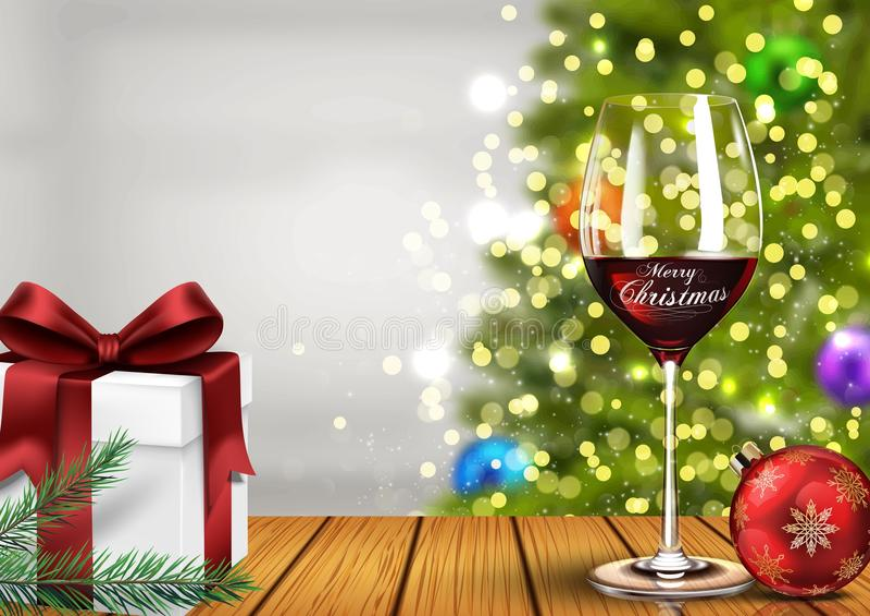 Weihnachtsweinglas mit Geschenkboxen und Weihnachtsball auf hellem bokeh Hintergrund stock abbildung