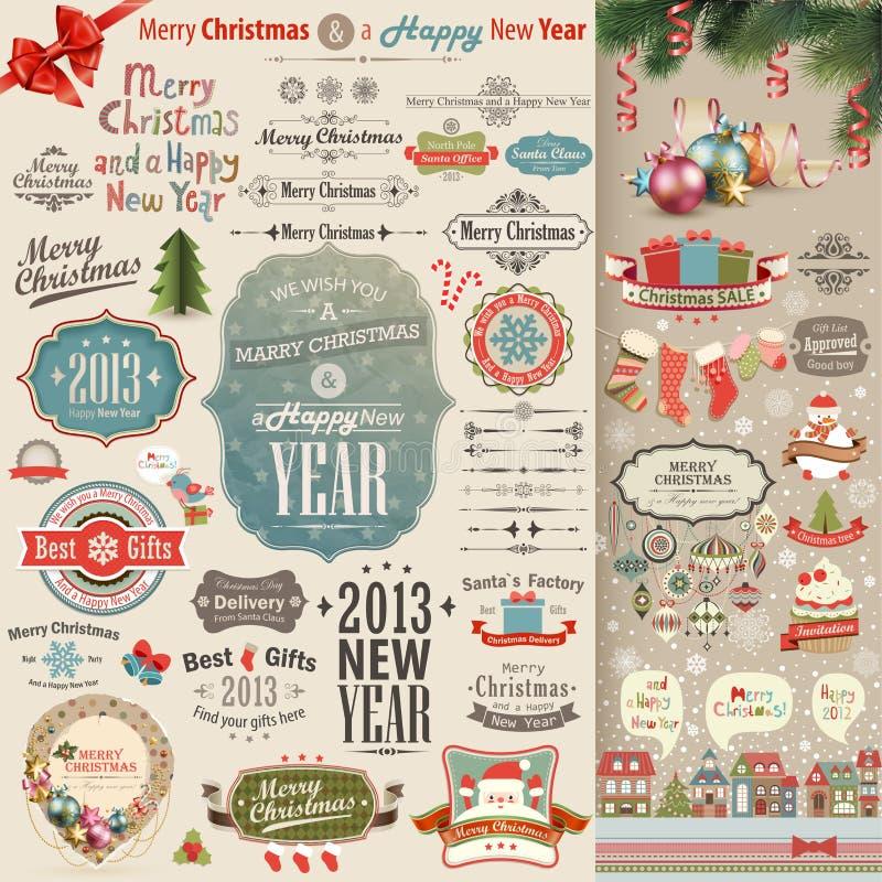 Weihnachtsweinlese Einklebebuchset stock abbildung