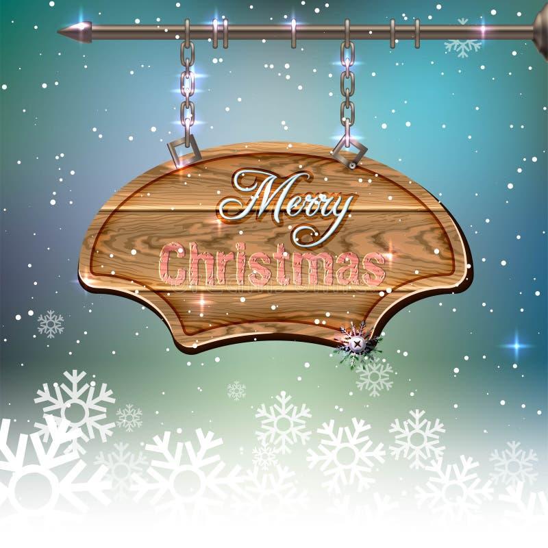 Weihnachtsweinlese-Grußkarte - hölzernes Schild vektor abbildung