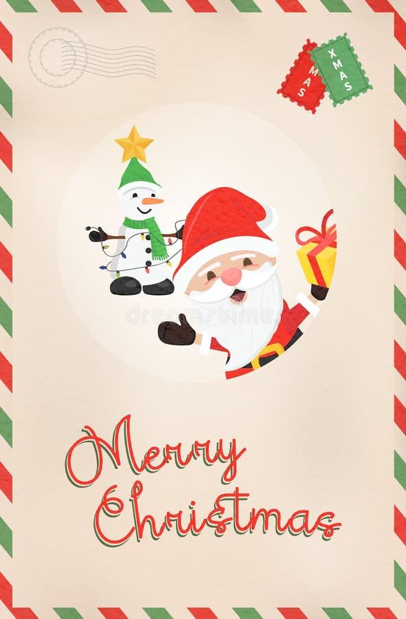 Weihnachtsweinlese Weihnachtsmann und Schneemannpostkarte lizenzfreie abbildung