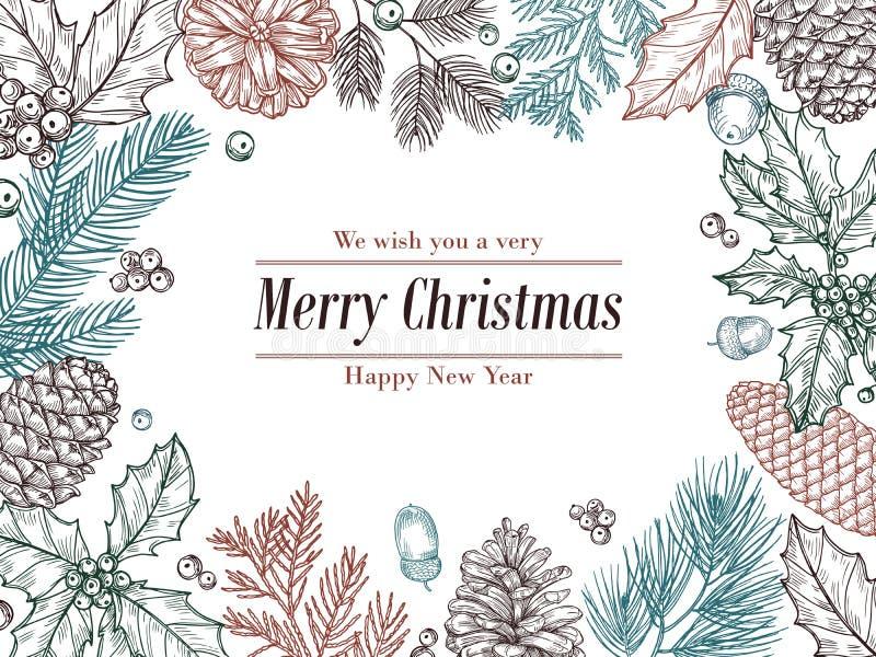 Weihnachtsweinleseeinladung Wintertannenkiefer verzweigt sich, pinecones Blumengrenze Weihnachten, Weihnachtsbotanischer Skizzenr stock abbildung