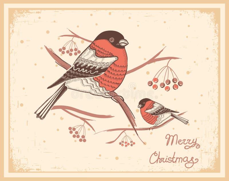 Weihnachtsweinlesekarte mit Dompfaffen und Schnee stock abbildung