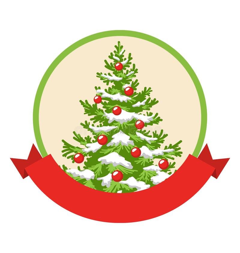 Weihnachtswinter-Aufkleber-Ikone mit Dekorations-Immergrün-Baum stock abbildung