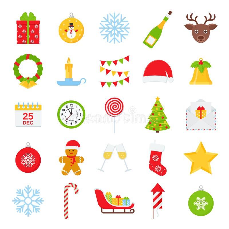 Weihnachtswinter-Ikonensatz Vektorillustration im flachen Design stock abbildung