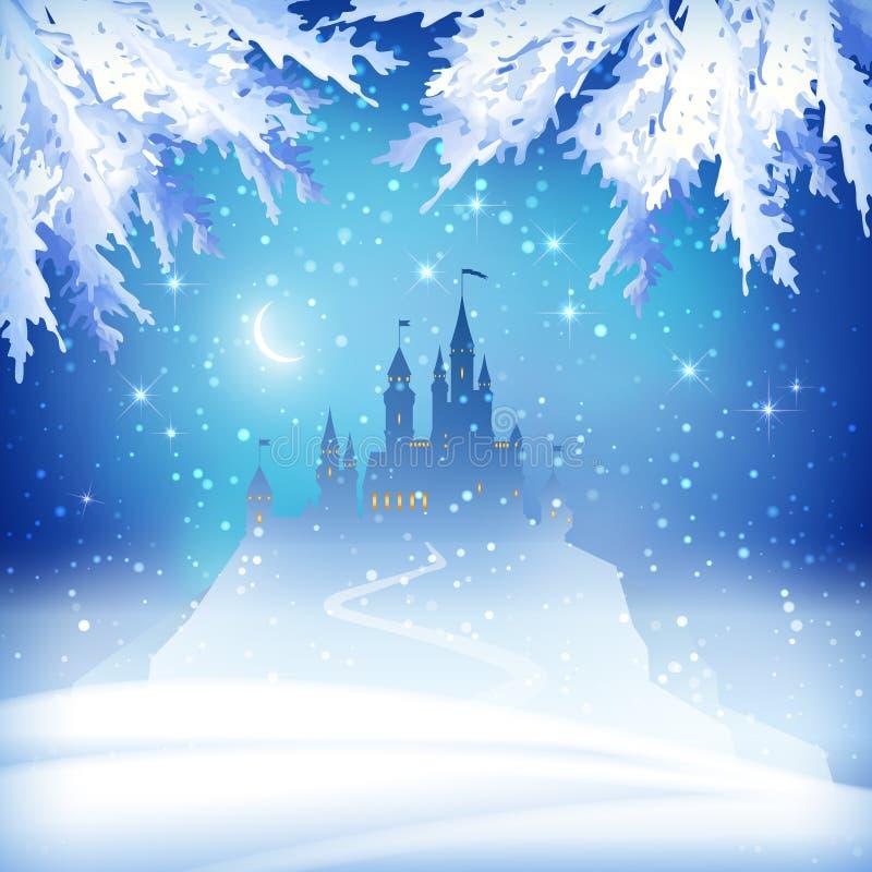 Weihnachtswinter-Schloss lizenzfreie abbildung