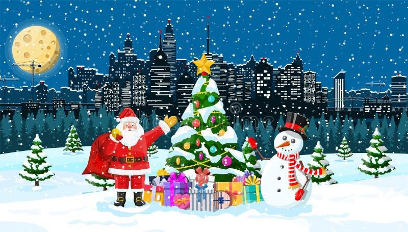 Weihnachtswinter-Stadtbild vektor abbildung