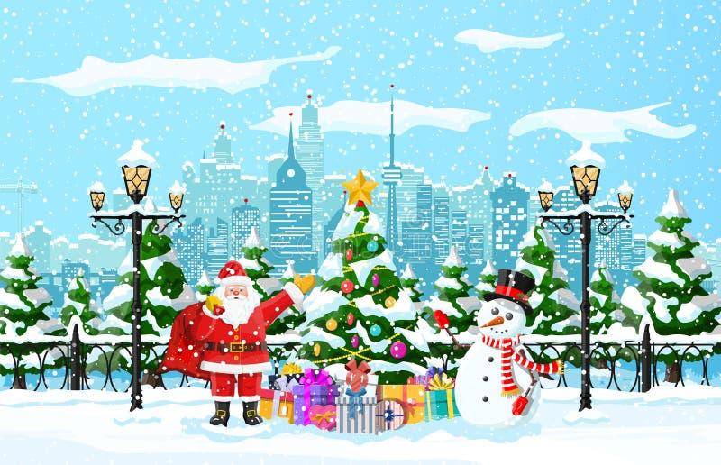 Weihnachtswinter-Stadtbild stock abbildung