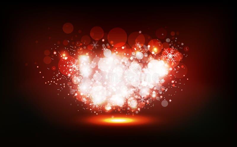 Weihnachtswinter, Sterne zerstreuen, den hellen glühenden Staub, undeutlicher abstrakter Hintergrund Bokeh zu schimmern Neonfeier lizenzfreie abbildung