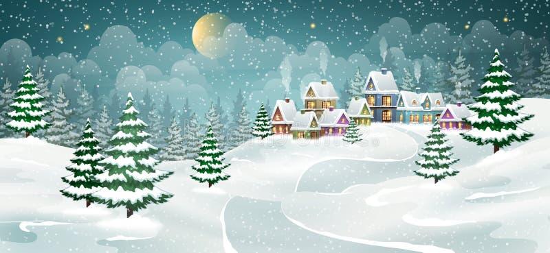 Download Weihnachtswinterdorf vektor abbildung. Illustration von kunst - 106801742
