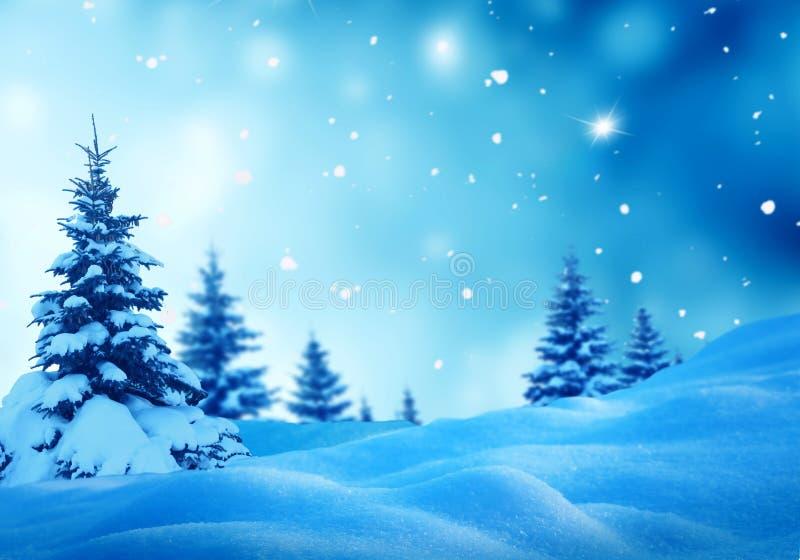 Weihnachtswinterlandschaft mit Tannenbaum stockfoto
