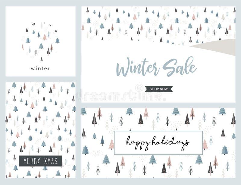 Weihnachtswinterlandschaftsgrußkarte und Fahnensatz Glückliches Einkaufenmädchen auf weißem Hintergrund Abstrakter Vektor