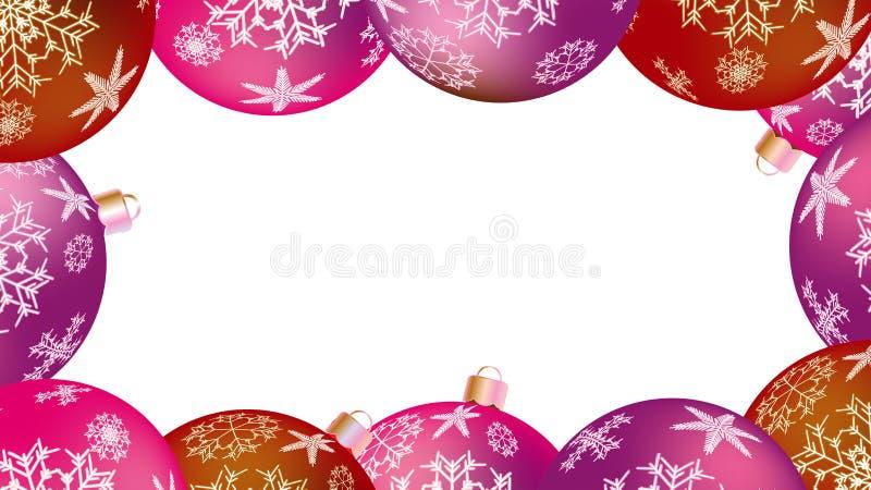 Weihnachtswinterrahmen für das neue Jahr von mehrfarbigen runden Bällen, Weihnachtsbaum Es kann für Leistung der Planungsarbeit n lizenzfreie abbildung