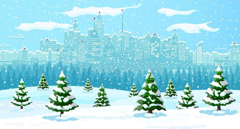 Weihnachtswinterstadtbild, -schneeflocken und -bäume vektor abbildung