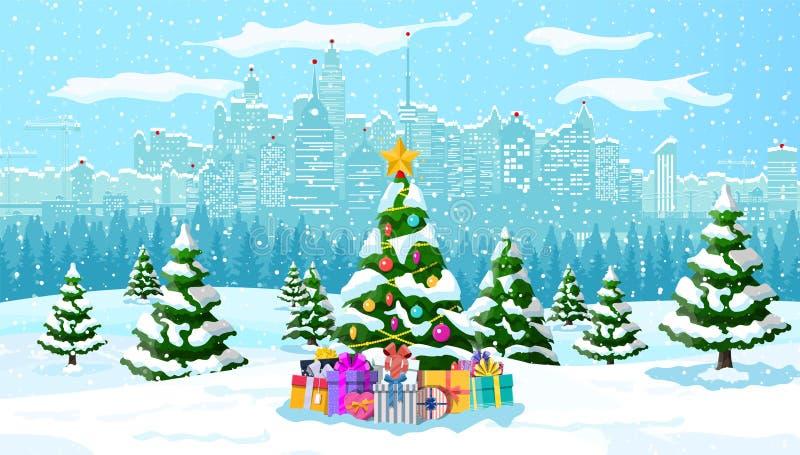 Weihnachtswinterstadtbild, -schneeflocken und -bäume lizenzfreie abbildung