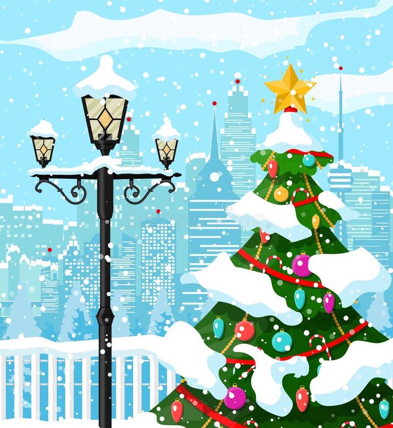 Weihnachtswinterstadtbild, -schneeflocken und -bäume stock abbildung
