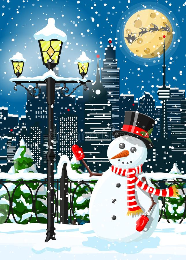 Weihnachtswinterstadtbild, -Schneemann und -bäume vektor abbildung