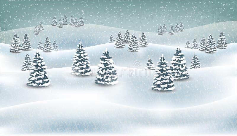 Weihnachtswinterwaldschneiender Landschaftshintergrund Auch im corel abgehobenen Betrag vektor abbildung