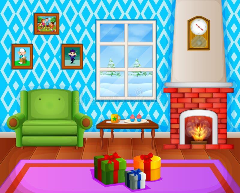 Weihnachtswohnzimmer mit einem Baum und einem Kamin lizenzfreie abbildung