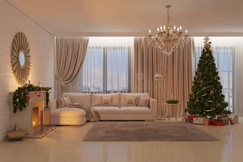Weihnachtswohnzimmer mit Kamin, Baum und Geschenken lizenzfreie abbildung