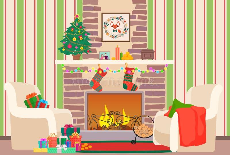 Weihnachtswohnzimmerflache Innenvektorillustration Baum und Kamin des Weihnachtsneuen Jahres mit Socken Weihnachtswand lizenzfreie abbildung