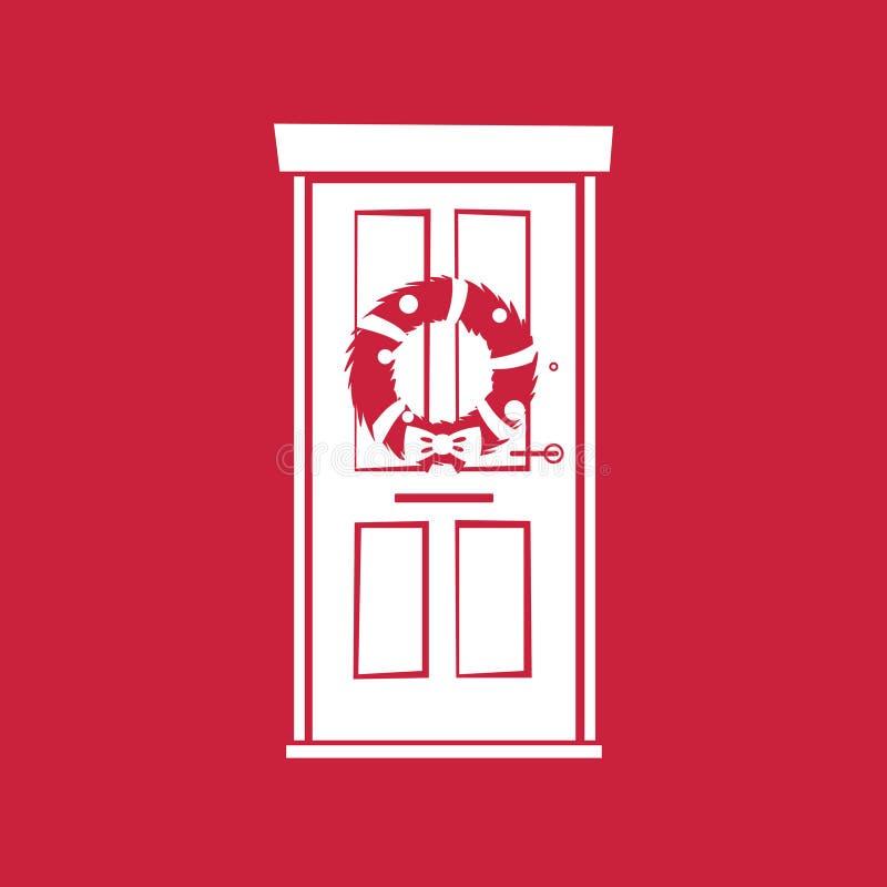 WeihnachtsWreath auf Tür lizenzfreie abbildung