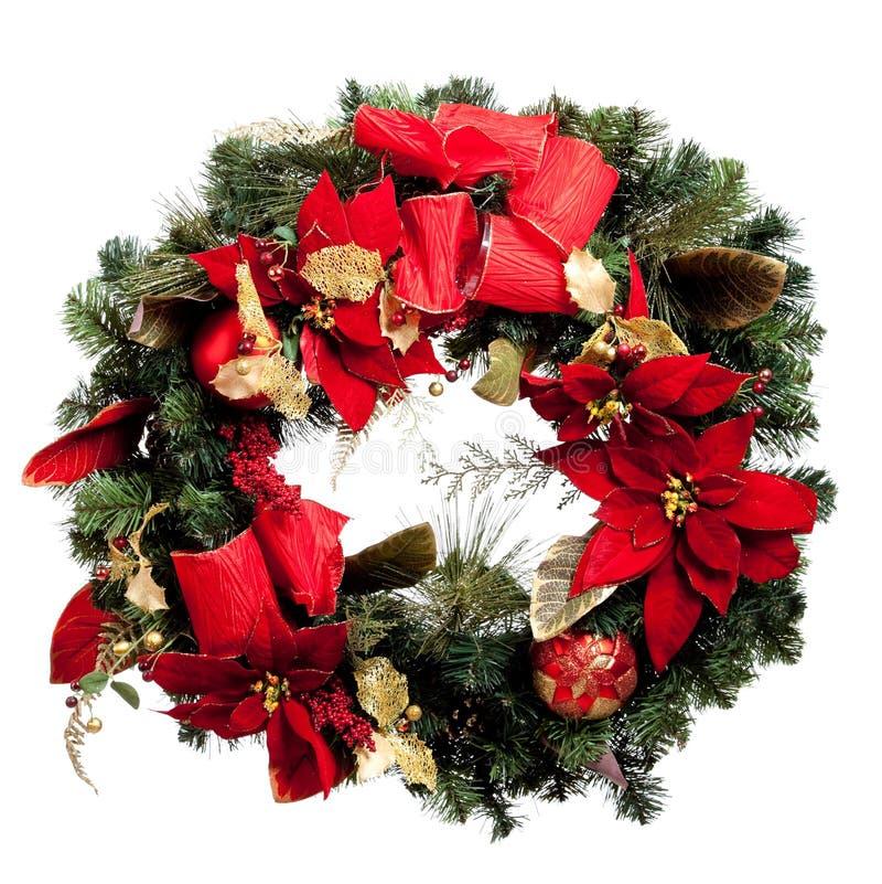 Weihnachtswreath mit Rot und Gold auf Weiß stockbilder