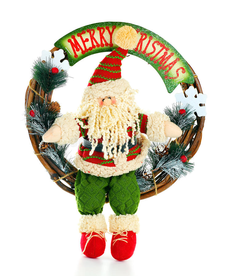 Weihnachtswreath mit Sankt lizenzfreies stockbild