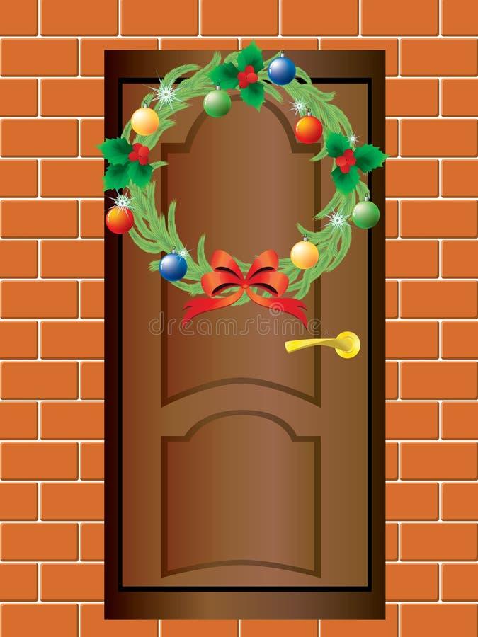 Weihnachtswreath und die Haustür. lizenzfreie abbildung